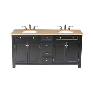 Stufurhome Vesta 72-inch Double-sink Travertine Marble Top Vanity