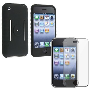 Eforcity Black Silicone Case/ Screen Guard for Apple iPhone Gen1