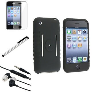 Eforcity Stylus/ Headset/ Black Case/ Protector for iPhone 3G/3GS