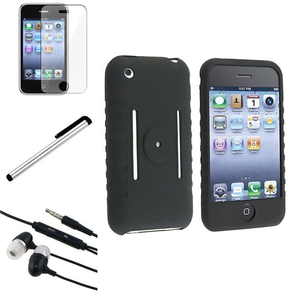 INSTEN Stylus/ Headset/ Black Phone Case Cover/ Protector for iPhone 3G/ 3GS