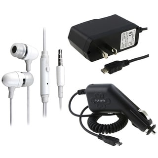 Eforcity White Headset/ AC Home/ Car Chargers for LG vx8560 / vx9700