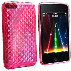 INSTEN Clear Hot Pink Diamond TPU Rubber iPod Case Cover for iPod Touch Gen 2/ 3