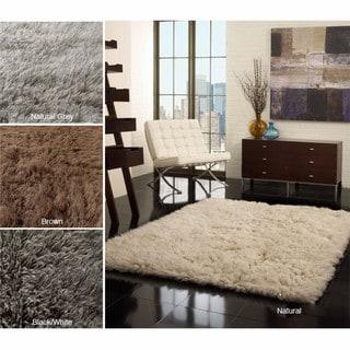 nuLOOM Hand-woven Alexa Flokati Wool Shag Rug (8' x 10')