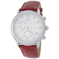 Roberto Bianci Men's Red Leather Strap Diamond Watch