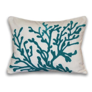 Dory Coral Embroidered Towel-stitch Pillow