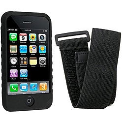 Eforcity Black Silicone Case/ Armband for Apple iPhone 3G/3GS