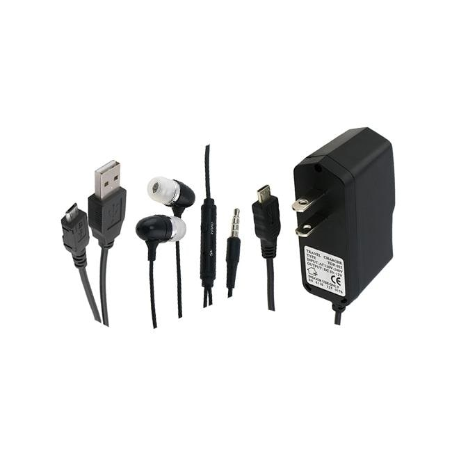 INSTEN Headset/ USB Cable/ Wall Charger for Blackberry 8530