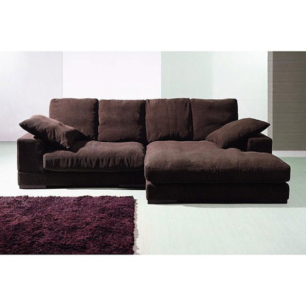 Dark Brown Ribbed Microfiber Sectional 12537740