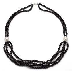 DaVonna Silver 2-row Black Onyx and White FW Pearl Necklace (11-12 mm)