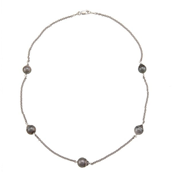DaVonna Silver Chain and Black Tahitian Pearl Tin Cup Necklace (8-9 mm) 6276725