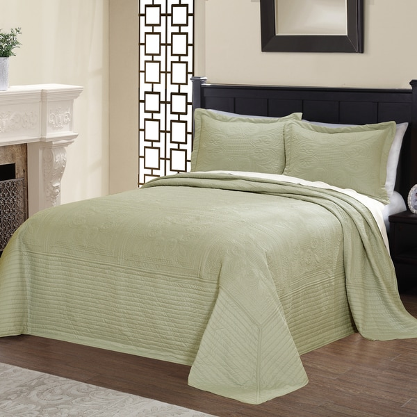 Vibrant Solid-colored Microfiber/ Cotton Quilted French Tile Bedspread 6280964