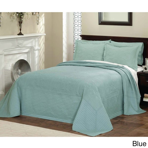 Vibrant Solid-colored Cotton Quilted French Tile Bedspread Full Size in Sage(As Is Item) 17307438