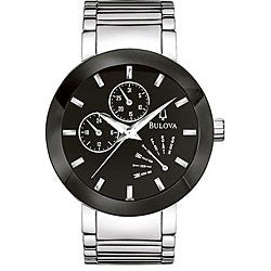 Bulova Men's 96C105 Stainless Steel Black Dial Watch