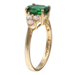 Sterling Essentials 14k Gold over Silver Green Oval Cubic Zirconia Ring