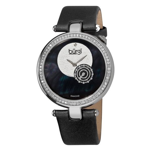 Burgi Women's Diamond Round Black Watch