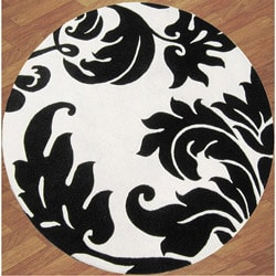 Alliyah Handmade Off-White New Zealand Blend Wool Rug Wool Rug (6' Round)