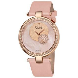 Burgi Women's Diamond-accented Pink Strap Watch