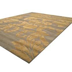 Hand-tufted Grey/ Gold Wool Rug (5' x 8')