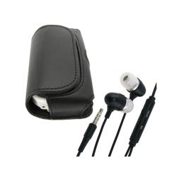 BasAcc Horizontal Black Leather Case/Headset for Palm Centro 690