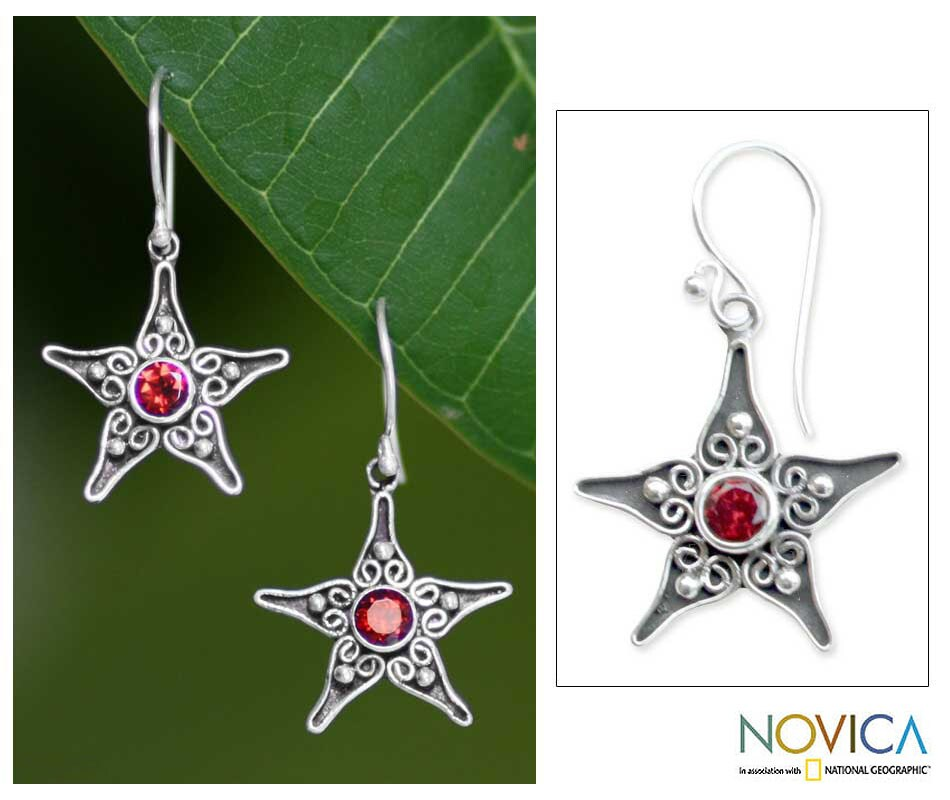 Silver 'Wish On A Star' Garnet Dangle Earrings (Indonesia)