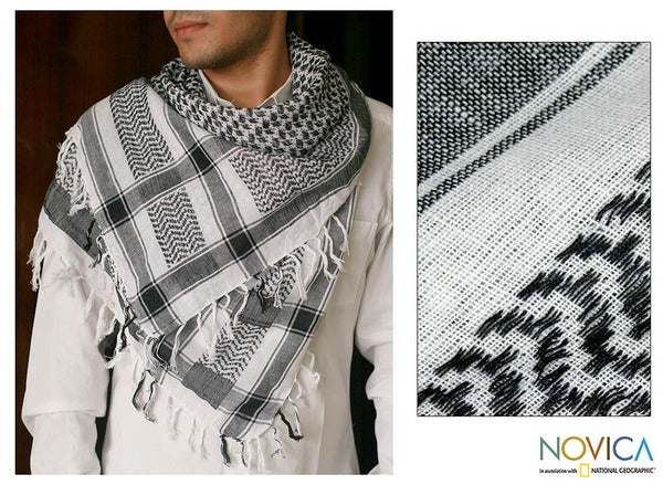 Cotton 'Black Houndstooth' Scarf (India)