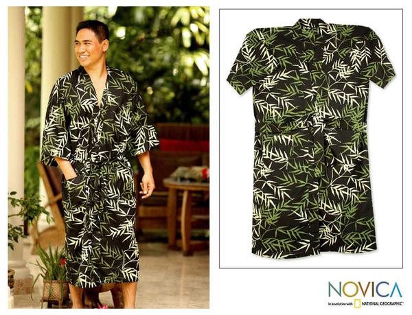 Cotton 'Forest Bamboo' Men's Batik Robe (Indonesia)
