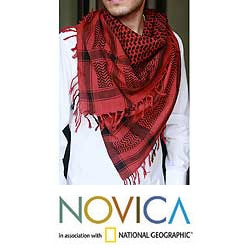 Cotton 'Ruby Houndstooth' Scarf (India)