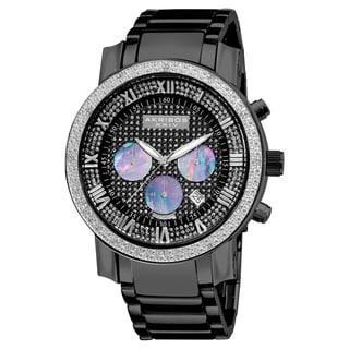 Akribos XXIV Men's Diamond-accented Black Chronograph Bracelet Watch
