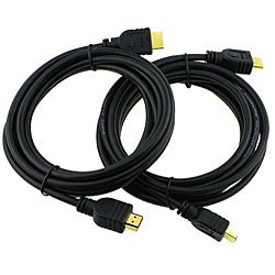 eForCity High-quality Black 10-foot M/M HDMI A/V Cable (Set of Two)