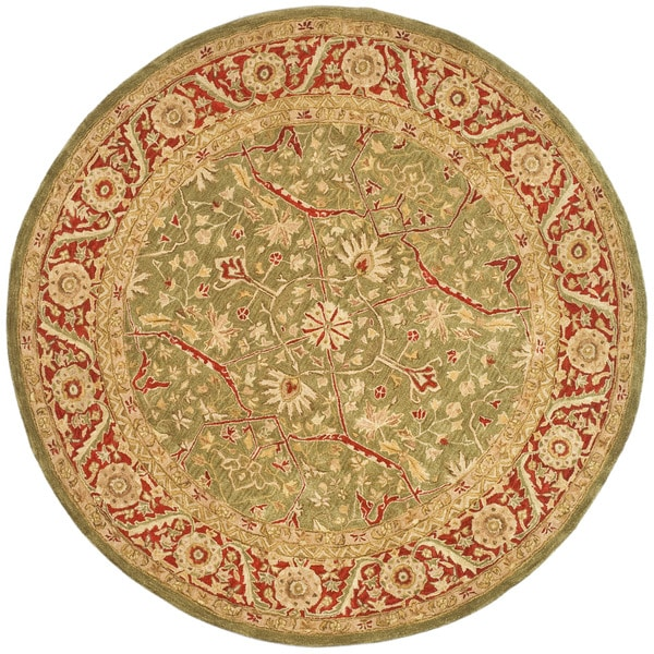 Safavieh Handmade Ancestry Green/ Red Wool Rug (4' Round)