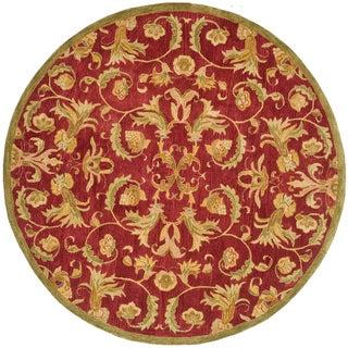 Safavieh Handmade Flora Burgundy Wool Rug (6' Round)