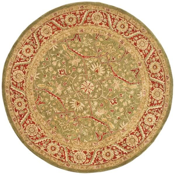 Safavieh Handmade Ancestry Green/ Red Wool Rug (8' Round)