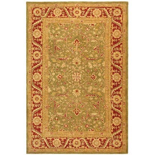 Handmade Ancestry Green/ Red Wool Rug (9' x 12')