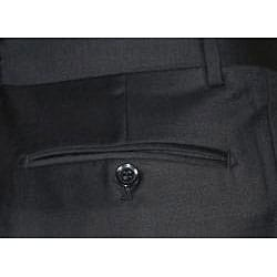 Mantoni Men's Black Single-pleat Wool Dress Pants