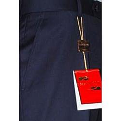 Men's Navy Blue Flat-front Wool Dress Pants