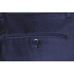Mantoni Men's Navy Blue Flat-front Wool Dress Pants