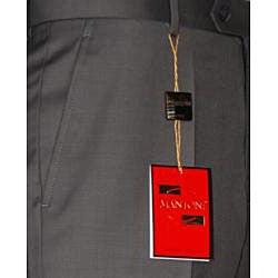 Men's Taupe Flat-front Wool Dress Pants
