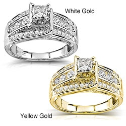 Annello 14k Gold 7/8ct TDW Princess Diamond Engagement Ring (H-I, I1-I2)