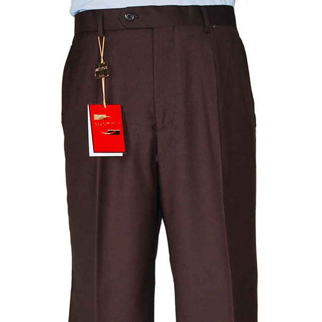 Men's Brown Single-pleat Wool Dress Pants