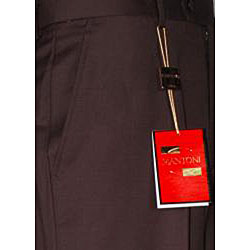 Mantoni Men's Brown Single-pleat Wool Dress Pants