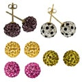 14k Yellow Gold Crystal Ball Stud Earrings