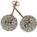 14k Yellow Gold White Crystal Ball Stud Earrings