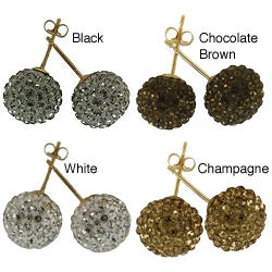 14k Yellow Gold 10 mm Crystal Ball Stud Earrings