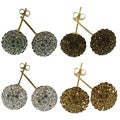 14k Yellow Gold 10 mm Crystal Ball Stud Earrings