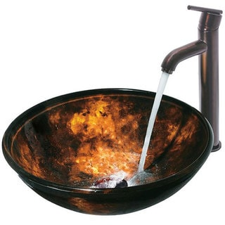 VIGO 'Brown and Gold Fusion' Handmade Glass Vessel Sink and Faucet Set in Oil-Rubbed Bronze