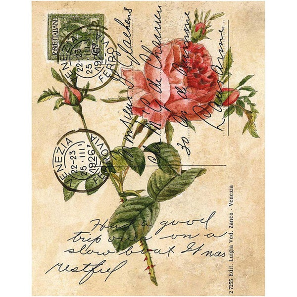Janlynn Rose Postcard Rubber Stamp