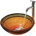 VIGO Tangerine Glass Vessel Sink and Faucet Set in Brushed Nickel