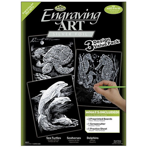 Turtle/ Sea Horse/ Dolphins Engraving Art (Pack of 3)