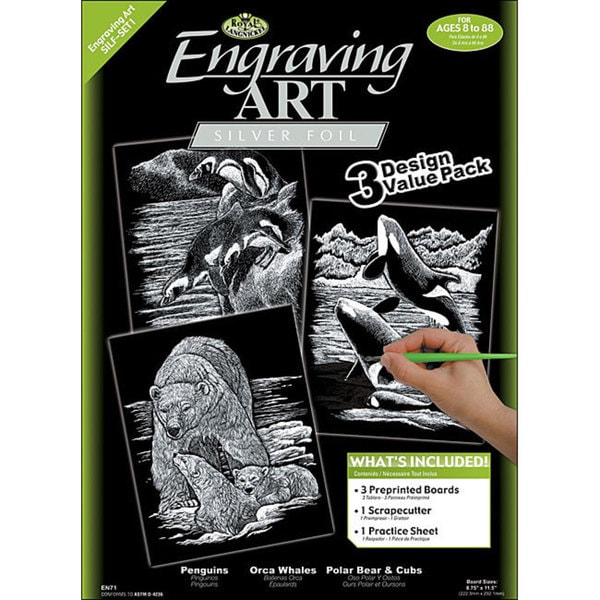 Arctic Animal Engraving Art Value Packs (Pack of 3)