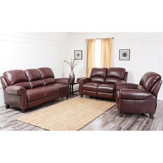 Abbyson Living Madison Top-grain Leather Pushback Reclining Sofa Set with Bonus Ottoman